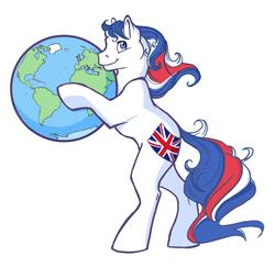 Size: 650x631 | Tagged: safe, artist:reaperfox, oc, oc:britannia (uk ponycon), earth pony, pony, bipedal, earth, female, g1, globe, mare, mascot, pony bigger than a planet, simple background, solo, uk ponycon, white background