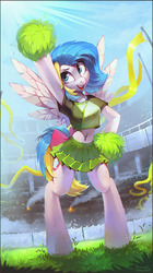 Size: 1078x1920 | Tagged: safe, artist:ramiras, artist:share dast, oc, oc only, oc:teacup cake, pegasus, anthro, semi-anthro, unguligrade anthro, anthro oc, belly, belly button, bow, breasts, cheering, cheerleader, clothes, crowd, cute, daytime, detailed background, fans, female, freckles, grass, mare, midriff, pleated skirt, pom pom, shirt, short shirt, skirt, soccer field, solo, spread wings, t-shirt, tail bow, wide hips, wings