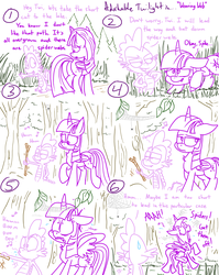 Size: 1280x1611 | Tagged: safe, artist:adorkabletwilightandfriends, spike, twilight sparkle, alicorn, dragon, pony, spider, comic:adorkable twilight and friends, adorkable, adorkable twilight, comic, cute, dork, forest, freakout, humming, humor, lineart, majestic as fuck, plot, scared, silly, slice of life, spider web, stick, twilight sparkle (alicorn)