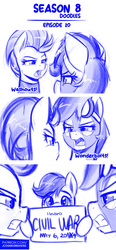 Size: 643x1380 | Tagged: safe, artist:jcosneverexisted, lightning dust, rainbow dash, scootaloo, pegasus, pony, season 8 doodles, the washouts (episode), angry, captain america: civil war, clothes, dialogue, female, filly, looking at each other, mare, meme, mlp:fim doodles, patreon, poster, sketch, uniform, washouts uniform, wonderbolts uniform