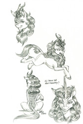 Size: 1000x1487   Tagged: safe, artist:baron engel, autumn blaze, kirin, sounds of silence, black and white, cloven hooves, female, grayscale, leonine tail, lineart, looking at you, monochrome, pencil drawing, realistic horse legs, simple background, solo, traditional art, white background