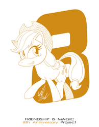 Size: 1086x1400 | Tagged: anniversary, applejack, artist:fuzon-s, earth pony, female, happy birthday mlp:fim, mare, mlp fim's eighth anniversary, monochrome, part of a set, pony, pony channel, safe, sketch, smiling, solo, style emulation, walking, yuji uekawa style