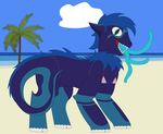 Size: 2750x2250 | Tagged: safe, artist:minus, derpibooru exclusive, oc, oc only, oc:viper, monster pony, original species, pony, tatzlpony, beach, bikini, clothes, cloud, colored, crossdressing, male, ocean, palm tree, sand, secret santa, sharp teeth, sky, solo, summer, swimsuit, teeth, tongue out, tree