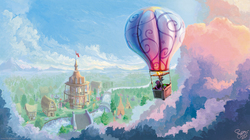 Size: 4000x2234 | Tagged: safe, artist:nemo2d, applejack, fluttershy, pinkie pie, spike, twilight sparkle, dragon, earth pony, pony, unicorn, friendship is magic, bridge, cloud, duo focus, featured image, female, flying, hot air balloon, male, mare, ponyville, ponyville town hall, river, scenery, scenery porn, sweet dreams fuel, theme song, twinkling balloon, unicorn twilight, wallpaper
