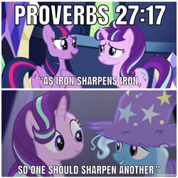 Size: 1200x1200 | Tagged: alicorn, bible verse, caption, christianity, edit, edited screencap, female, mare, no second prances, pony, religion, safe, screencap, starlight glimmer, text, trixie, twilight sparkle, unicorn