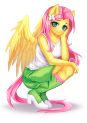 Size: 2480x3507 | Tagged: anthro, artist:gyuumu, equestria girls outfit, female, fluttershy, looking at you, mare, pegasus, plantigrade anthro, safe, simple background, solo, transparent background, watermark