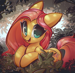 Size: 1404x1376 | Tagged: safe, artist:mirroredsea, fluttershy, pegasus, pony, bush, colored pupils, cute, female, floppy ears, leaning, looking at you, mare, open mouth, shyabetes, smiling, solo