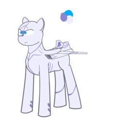 Size: 1264x1344 | Tagged: safe, artist:not-immortal, oc, oc only, original species, plane pony, pony, blaze (coat marking), f-22 raptor, frown, lidded eyes, male, plane, reference, serious, serious face, simple background, solo, stallion, transparent background
