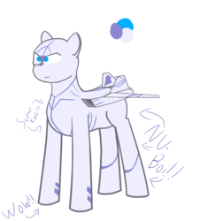Size: 1264x1344 | Tagged: artist:not-immortal, blaze (coat marking), caption, captions, f-22 raptor, misspelling, oc, oc only, original species, plane, plane pony, pony, reference, safe, serious, serious face, simple background, solo, transparent background, wow