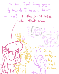 Size: 1280x1611 | Tagged: safe, artist:adorkabletwilightandfriends, lily, lily valley, moondancer, spike, dragon, earth pony, pony, unicorn, ask adorkable twilight, ask adorkable twilight and friends, humor, magic, paper, ponified, ponified spike, species swap, tablet, telekinesis