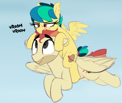 Size: 1736x1455   Tagged: safe, artist:shinodage, oc, oc only, oc:apogee, oc:jet stream, pegasus, pony, apogee riding jet stream, cute, daaaaaaaaaaaw, diageetes, duo, father and daughter, female, filly, flying, freckles, male, ocbetes, ponies riding ponies, riding, stallion, vroom vroom