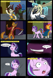 Size: 4750x7000 | Tagged: absurd res, adventure, alternate hairstyle, alternate timeline, alternate universe, alternate version, artist:chedx, bad end, canterlot, capper dapperpaws, captain celaeno, comic, comic:the storm kingdom, fantasy, fight, general tempest shadow, my little pony: the movie, princess skystar, rebels, safe, starlight glimmer, storm creature, storm guard, sunburst, tempest shadow, the bad guy wins