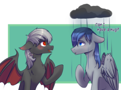 Size: 2500x1870 | Tagged: artist:shiro-roo, bat pony, bat pony oc, cloud, duo, oc, oc:dusty fang, oc only, oc:silver, pegasus, pony, rain, raincloud, sad, safe, simple background, speech, transparent background, ych result