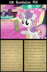 Size: 4800x7300 | Tagged: safe, artist:gm-scoots, sweetie belle, comic:bleeding hearts, absurd resolution, implied scootabloom, older, shipper on deck, text