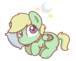 Size: 1280x1024 | Tagged: safe, artist:sugar morning, oc, oc only, oc:lemming, dog pony, pegasus, pony, :p, chibi, curled up, cute, lying down, male, moon, pillow, silly, simple background, sleeping, solo, stallion, stars, tongue out, transparent background, ych result