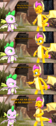 Size: 1280x2880 | Tagged: safe, artist:hedgehogninja94, smolder, spike, dragon, 3d, bender bending rodriguez, comic, dragoness, female, futurama, hands on belly, laughing, let me laugh even harder, meme, oh wait you're serious, parody, pointing, source filmmaker, spike is not amused, spread wings, unamused, winged spike, wings