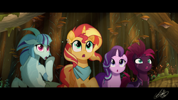 Size: 1920x1080 | Tagged: safe, artist:light262, sonata dusk, starlight glimmer, sunset shimmer, tempest shadow, pony, siren, unicorn, my little pony: the movie, amazed, bandana, broken horn, clothes, cute, cutie mark, ear piercing, eye scar, female, gasp, glimmerbetes, horn, mare, movie accurate, neckerchief, open mouth, piercing, scar, shimmerbetes, signature, sonatabetes, tempestbetes, tree, widescreen