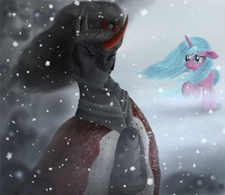 Size: 1930x1670 | Tagged: safe, artist:greenbrothersart, king sombra, radiant hope, pony, umbrum, idw, spoiler:comic, blizzard, cape, clothes, crying, eyes closed, female, male, mare, raised hoof, snow, snowfall, stallion