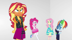 Size: 1920x1080 | Tagged: angry, equestria girls, equestria girls series, fluttershy, geode of empathy, geode of fauna, geode of sugar bombs, geode of super speed, magical geodes, pinkie pie, rainbow dash, red face, rollercoaster of friendship, safe, screencap, sudden realization, sunset shimmer, sunset shimmer is not amused, unamused