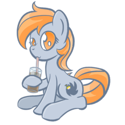 Size: 1280x1280 | Tagged: 2019 community collab, artist:phat_guy, derpibooru community collaboration, derpibooru exclusive, drink, earth pony, female, glass, hoof hold, looking at you, mare, oc, oc:darkest hour, oc only, pony, safe, simple background, sitting, solo, straw, transparent background