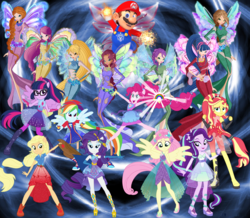 Size: 2644x2306 | Tagged: aisha, amulet, applejack, artist:user15432, artist:whalepornoz, bloom, bloom (winx club), clothes, crossover, dream, dream world, ear piercing, earring, equestria girls, equestria girls series, fairy, fairy wings, flora (winx club), flower, fluttershy, fuzzy wings, gem, gloves, glow, jewelry, layla, magic, magical trio, magic aura, maridash, mario, mariopie, marioshy, musa, necklace, onyrix, piercing, pinkie pie, ponied up, portal, rainbow, rainbow dash, rarity, roxy (winx club), safe, sci-twi, scitwilicorn, shoes, starlight glimmer, stella (winx club), sunset shimmer, super mario bros., super ponied up, super smash bros., tecna, twilight sparkle, wings, winx, winx club, world of winx