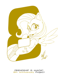 Size: 1086x1400 | Tagged: anniversary, artist:fuzon-s, cute, female, fluttershy, flying, happy birthday mlp:fim, looking at you, mare, mlp fim's eighth anniversary, monochrome, part of a set, pegasus, pony, safe, shyabetes, sketch, smiling, solo, style emulation, yuji uekawa style