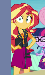 Size: 508x842 | Tagged: safe, screencap, fluttershy, sci-twi, sunset shimmer, twilight sparkle, equestria girls, equestria girls series, rollercoaster of friendship, angry, clothes, cropped, geode of empathy, glasses, jacket, leather, leather jacket, magical geodes, offscreen character, shrunken pupils, skirt