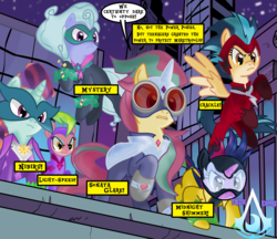Size: 2284x1972 | Tagged: safe, artist:darktailsko, idw, fili-second, indigo zap, lemon zest, masked matter-horn, mistress marevelous, radiance, saddle rager, sci-twi, sour sweet, sugarcoat, sunny flare, twilight sparkle, zapp, earth pony, pegasus, pony, unicorn, alternate hairstyle, boots, building, caption, clothes, commission, costume, equestria girls ponified, eyeshadow, female, flying, goggles, gritted teeth, jewelry, levitation, magic, makeup, mare, mask, necklace, night, outfit, ponified, power ponies, raised hoof, rooftop, self-levitation, shadow six, shoes, signature, skyscraper, superhero, telekinesis, text box, the shadow ponies, unicorn sci-twi, watermark