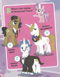 Size: 434x555 | Tagged: safe, diamond tiara, fancypants, filthy rich, prince blueblood, pony, cropped, magazine scan, question