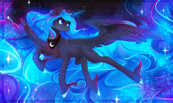 Size: 3200x1917 | Tagged: safe, artist:koveliana, princess luna, alicorn, pony, chromatic aberration, female, flying, glowing mane, looking back, mare, solo, unshorn fetlocks