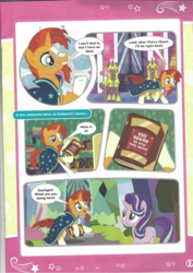 Size: 826x1169 | Tagged: safe, starlight glimmer, sunburst, pony, book, comic, magazine scan, royal guard, the quest for the lost toy