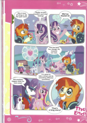 Size: 826x1169 | Tagged: safe, princess cadance, princess flurry heart, shining armor, starlight glimmer, sunburst, pony, book, comic, diaper, foal, magazine scan, the quest for the lost toy, victory