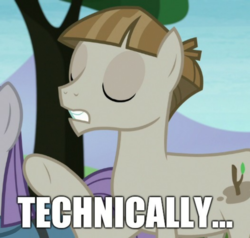 Size: 1136x1080 | Tagged: caption, earth pony, edit, edited screencap, editor:apex soundwave, female, image macro, impact font, male, mudbriar, pony, reaction image, safe, screencap, solo focus, stallion, technically, the maud couple