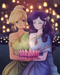 Size: 1200x1500 | Tagged: alternate hairstyle, applejack, artist:tcn1205, beautiful, clothes, cute, dress, equestria girls, eyes closed, female, flower, jackabetes, lesbian, lotus (flower), loy krathong, raribetes, rarijack, rarity, safe, shipping, thailand