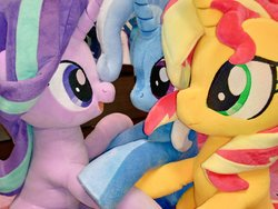 Size: 1024x768 | Tagged: safe, artist:nekokevin, starlight glimmer, sunset shimmer, trixie, pony, unicorn, series:nekokevin's glimmy, counterparts, female, happy, irl, looking at each other, magical trio, mare, open mouth, photo, plushie, raised hoof, smiling, twilight's counterparts