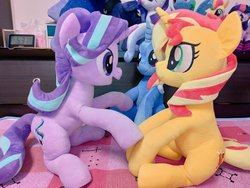 Size: 1024x768 | Tagged: safe, artist:nekokevin, princess luna, rarity, starlight glimmer, sunset shimmer, trixie, twilight sparkle, alicorn, pegasus, pony, unicorn, series:nekokevin's glimmy, clothes, counterparts, female, happy, irl, looking at each other, magical trio, mare, open mouth, photo, plushie, raised hoof, sitting, smiling, socks, striped socks, twilight sparkle (alicorn), twilight's counterparts