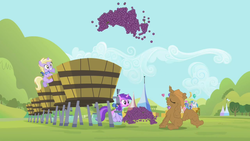 Size: 1920x1080 | Tagged: amethyst star, applejack's hat, australia, covered in mud, cowboy hat, dinky hooves, eyes closed, female, filly, foal, food, grapes, hat, lightning bolt, mare, merry may, minuette, pony, rarity, safe, screencap, sisterhooves social, sparkler, twinkleshine, unicorn, white lightning