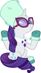 Size: 3083x5485 | Tagged: artist:ironm17, best gift ever, boots, clothes, eyes closed, glasses, good, outfit, pony, rarity, safe, scarf, shoes, simple background, sitting, smiling, solo, style, sunglasses, transparent background, unicorn, vector, winter outfit
