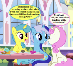 Size: 495x450 | Tagged: safe, edit, edited screencap, screencap, lemon hearts, minuette, twinkleshine, amending fences, idw micro series, adorableshine, chess, cropped, cute, dialogue, donut, food, implied giddilee, lemonbetes, minubetes, reminiscing, speech bubble