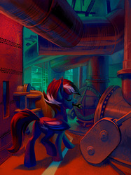 Size: 1280x1712 | Tagged: safe, artist:holivi, oc, oc only, bat pony, pony, bat pony oc, eyes closed, male, mouth hold, smiling, stallion, wrench