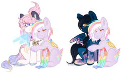 Size: 1900x1100 | Tagged: artist:aledera, artist:oceangraph, bat pony, female, hug, mare, oc, oc:daybreak, oc:fliter nightfall, oc only, pegasus, pony, safe, simple background, tldr in the description, transparent background