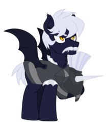 Size: 1000x1200 | Tagged: 2019 community collab, armor, artist:tertonda, bat pony, bat pony oc, chest fluff, derpibooru community collaboration, derpibooru exclusive, ear fluff, facial hair, guard, helmet, male, oc, oc:obsidian shield, oc only, pony, safe, simple background, solo, stallion, transparent background