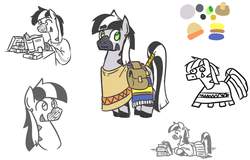 Size: 1254x801 | Tagged: safe, artist:jargon scott, oc, oc only, oc:zeta, zebra, bag, book, bust, c:, clothes, ear piercing, lying down, male, partial color, piercing, reading, reference sheet, simple background, sitting, sketch, sketch dump, smiling, solo, stallion, white background, zebra oc