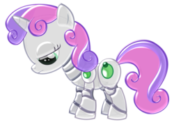 Size: 2500x1750 | Tagged: artist:theoriginalginger, chrome, pony, robot, robot pony, safe, shiny, sweetie belle, sweetie bot