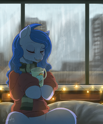 Size: 1600x1924 | Tagged: source needed, useless source url, safe, artist:evomanaphy, oc, oc only, oc:shadow blue, earth pony, pony, semi-anthro, building, chocolate, clothes, cozy, doodle, eyes closed, female, food, hot chocolate, mare, mug, patreon, patreon reward, pullover, rain, scarf, solo, string lights, sweater, window