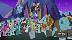 Size: 1920x1080   Tagged: safe, screencap, applejack, auburn vision, clever musings, dawnlighter, end zone, fire flicker, fluttershy, gallus, golden crust, huckleberry, lilac swoop, night view, november rain, ocarina green, ocellus, peppe ronnie, peppermint goldylinks, pinkie pie, rainbow dash, rarity, rockhoof, sandbar, silverstream, slate sentiments, smolder, spike, strawberry scoop, sugar maple, summer breeze, twilight sparkle, yona, alicorn, changedling, changeling, classical hippogriff, dragon, earth pony, griffon, hippogriff, pegasus, pony, unicorn, yak, a rockhoof and a hard place, background pony, background pony audience, bow, braid, butt, cloven hooves, colored hooves, crowd, dragoness, female, flying, friendship student, hair bow, hoof wraps, jewelry, male, mare, monkey swings, necklace, night, plot, rockhoof's shovel, shovel, stallion, student six, teenager, twilight sparkle (alicorn), winged spike