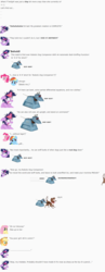 Size: 843x2182 | Tagged: safe, artist:dziadek1990, applejack, fluttershy, pinkie pie, rainbow dash, twilight sparkle, winona, dog, robot, alternate universe, bulging eyes, conversation, crazy face, doctor who, emote story, emotes, evil laugh, faic, insanity, invention, inventor, k-9, mad scientist, ouch, plot, reference, scientist, slice of life, text, worried