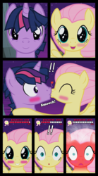 Size: 1280x2300 | Tagged: artist:bigsnusnu, blushing, blushing profusely, comic, comic:dusk shine in pursuit of happiness, dusk shine, duskshy, female, fluttershy, half r63 shipping, male, mare, nerdy love, pegasus, pony, rule 63, safe, shipping, stallion, straight, this will end in fainting, twilight sparkle, twishy, unicorn, unicorn dusk shine