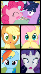 Size: 1280x2300 | Tagged: safe, artist:bigsnusnu, applejack, fluttershy, pinkie pie, rainbow dash, rarity, twilight sparkle, earth pony, pegasus, pony, unicorn, comic:dusk shine in pursuit of happiness, comic, dusk shine, dusk shine gets all the mares, duskpie, female, half r63 shipping, male, mane six, mare, rule 63, shipping, stallion, straight, twinkie, unicorn dusk shine