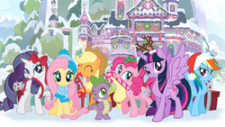 Size: 1696x954   Tagged: safe, applejack, fluttershy, pinkie pie, rainbow dash, rarity, spike, twilight sparkle, alicorn, dragon, earth pony, pegasus, pony, unicorn, best gift ever, g4, official, antlers, candy, candy cane, christmas, christmas lights, clothes, female, food, hat, holiday, holly, male, mane seven, mane six, mare, mouth hold, present, ribbon, santa hat, scarf, school of friendship, snow, solo, tree, twilight sparkle (alicorn), winter, winter outfit